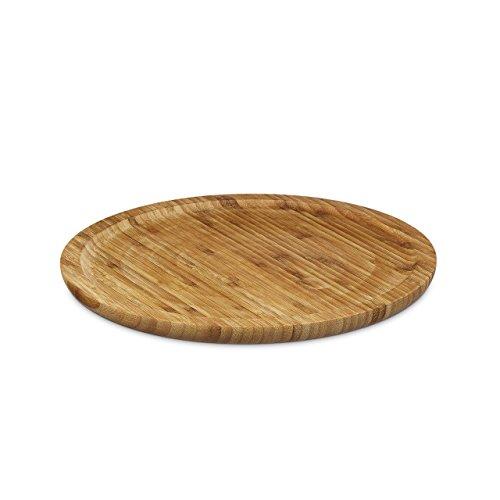 Relaxdays Servierplatte Bambus rund D ca. 33 cm Bambusteller zum Anrichten als Servierteller und Serviertablett für Wurst Käse Obst Gebäck Snacks uvm. nutzbar Snacktablett auch als Dekoteller, natur