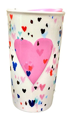 Starbucks Valentine Raised Pink Heart Double Wall Traveler Tumbler 10 Oz 2018