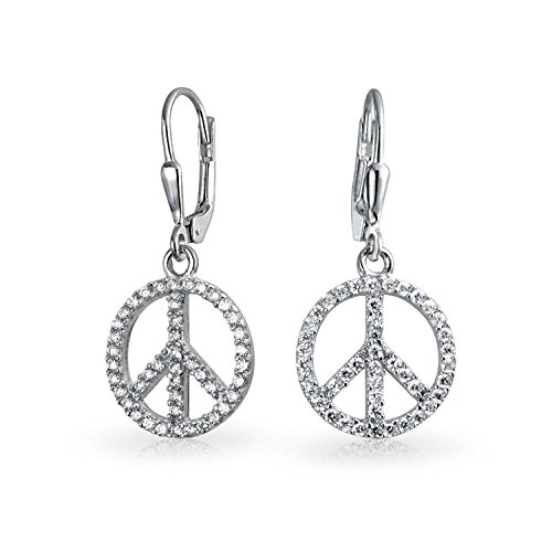 World Peace Sign Symbol Cubic Zirconia Pave CZ Leverback Drop Dangle Earrings For Women For Teen 925 Sterling Silver ()