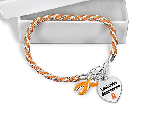 Leukemia Orange Ribbon Rope Bracelet in a Gift Box (1 Bracelet - (Leukemia Orange Ribbon)