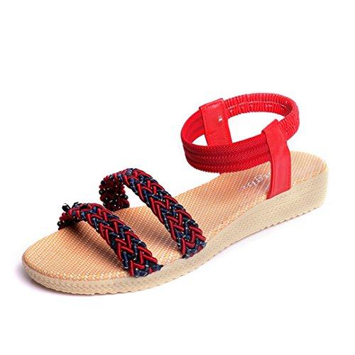 WINWINTOM Mujeres Plana de Zapatos Peep Toe Sandalias de Señora Soild Bohemia Ocio Zapatos Al Aire Libre (38, Rojo)