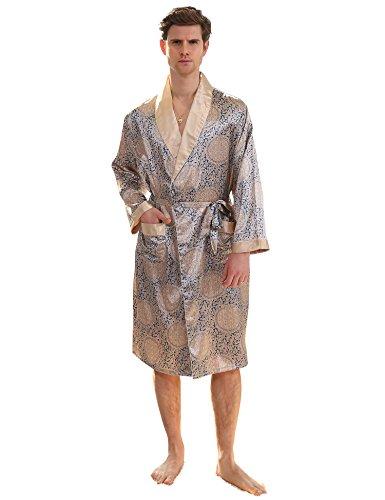 Men's Satin Robe Printed Bath Sleepwear Long Classic Charmeuse Robe (M, Glam Silver)
