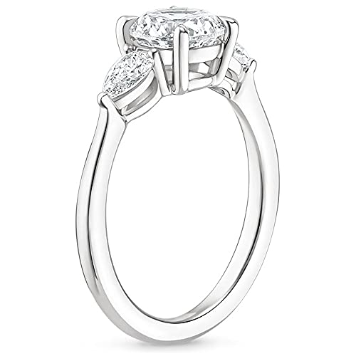 KOLMNSTA 3.5CT Silver Engagement Rings for Women Cushion Cut 3-Stone Promise Rings for Her White Gold Plated Cubic Zirconia CZ Wedding bands Size 7