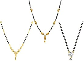 Youbella Jewellery Gold Plated Combo Of 3 Mangalsutra Pendan