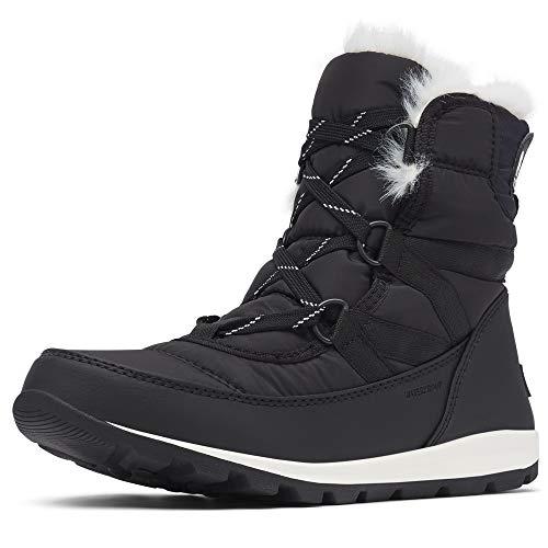 Sorel Women's Whitney Short Lace Snow Boot, Black, Sea Salt, 9.5 M US (Ladies Snow Boots Size 9 Wide)