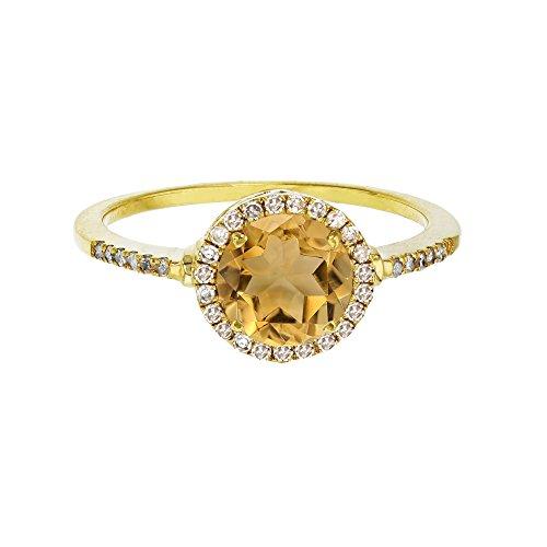 Sterling Silver Yellow 7mm Round Citrine & Created White Sapphire Halo Ring
