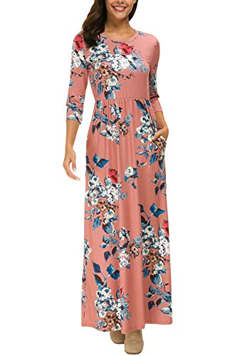 (Zattcas Women's Floral Maxi Dress 3/4 Sleeve Casual Long Printed Maxi Dresses with Pockets (X-Large, 3/4 Sleeve Dark Mauve))