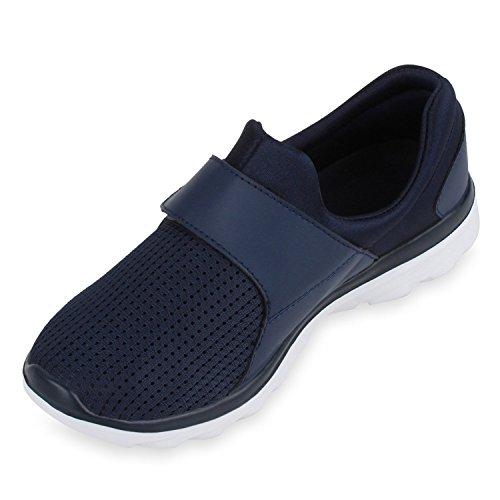 Stiefelparadies Unisex Sportschuhe Damen Herren Sneaker Übergrößen Laufschuhe Slip Ons Strick Schuhe Lack Turnschuhe Training Gym Flandell Marineblau