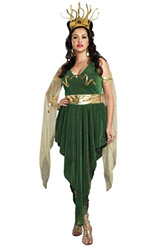 Dreamgirl 9442X Plus Size Sexy Medusa Costume - 1X/2X - Green/Gold (Medusa Plus Size Costume)