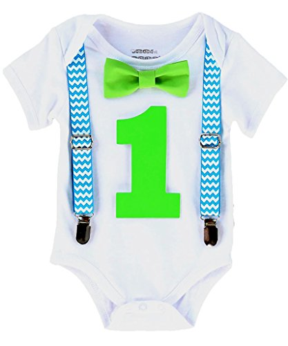 Noah's Boytique Baby Boys First Birthday Turquoise Chevron Outfit 6-12 Months
