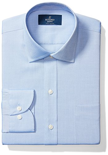 Buttoned Down Men's Slim Fit Spread Collar Solid Non-Iron Dress Shirt (Pocket), Blue, 15