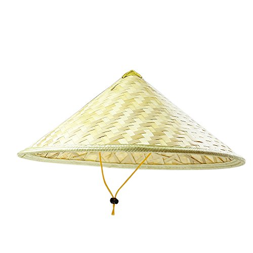 Sunnyhill(TM) Chinese Oriental Bamboo Straw Cone Garden Fishing Hat Adult Rice Hat (Style 4) ()