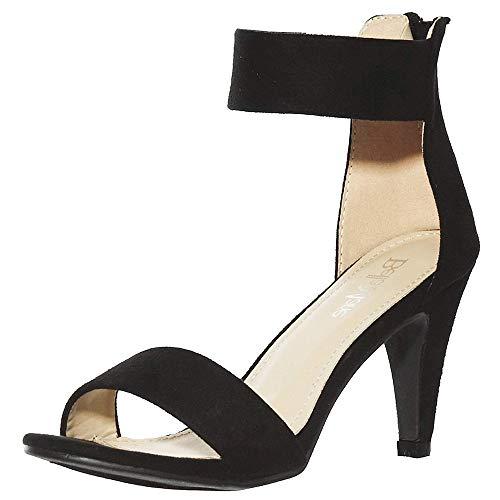 (shoewhatever Low Heel Ankle Strap Sandals (9, blackE1) [Apparel])
