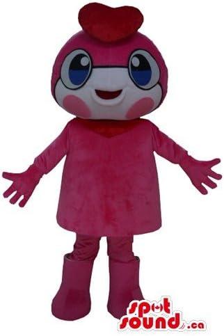 かわいい女性のピンクと赤の漫画のキャラクターは、大きな目でマスコットカナダSpotSound