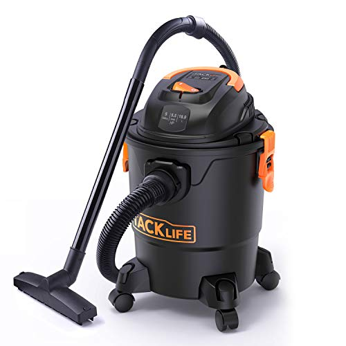 Wet Dry Vacuum, Shop Vacuum Tacklife PVC01A, 5Gallon 5.5Peak Horsepower Strong Suction Floor Cleaner/Carpets Cleaner/Car Cleaner Industry Motor and Safe Buoy Technology Detachable Blowers from TACKLIFE
