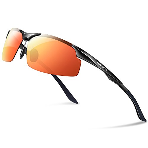 RIVBOS Polarized Sports Sunglasse for Men Women, Glasses for Cycling Running Fishing Golf Baseball Fashion Metal Frames RBS091 (Black Ice Red Lens)