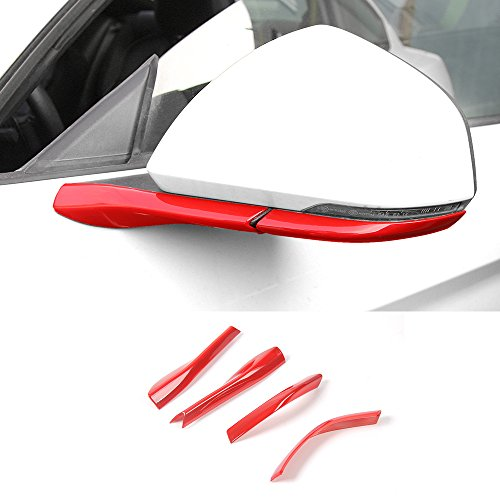 ABS Rearview Side Mirror Bottom Base Cover Strip Trim For Ford Mustang 2015-2017 (Red) ()