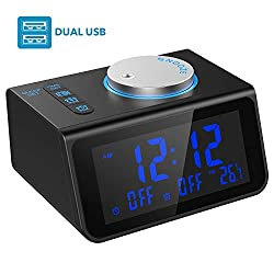 LATME Alarm Clock Radio with Dual Alarms,3.2'' Digital Display and Dimmer,7 Alarm Sounds,Snooze,2 USB Ports,Bedside FM Radio Alarm Clocks with Temp Display for Bedrooms/Kitchen/Office