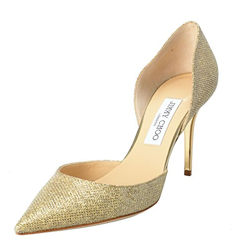 Jimmy Choo Women's Gold Glitter Pointy Toe High Heels Pumps Shoes US 8.5 IT - Choo Women Jimmy Shoes For