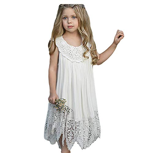 Toddler Girls Embroidery Fairy White Princess Dress Sleeveless Maxi Polyester Wedding Dress -