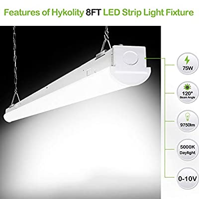 Hykolity 8FT 75W 9750lm LED Shop Linear Strip Light Fixture Linkable Replaces up to 5-lamp 32-Watt T8 Fluorescent Tube Low Bay Commercial Industrial 5000K 0-10V Dimmable DLC Complied 4 Pack