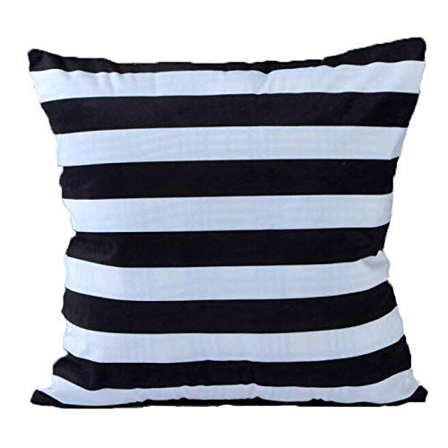 GOVOW Stripe Square Pillow Cases Cover Cushion Case Toss Pillowcase Hidden Zipper Closure -