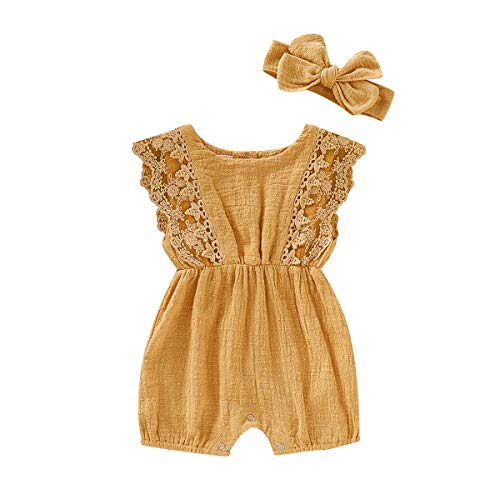 ZOELNIC Infant Girl Linen Romper Baby Girls Sleeveless Lace Jumpsuit + Bow Headband Toddlder Kids Overalls Summer Outfits (Yellow, 6-12 Months)