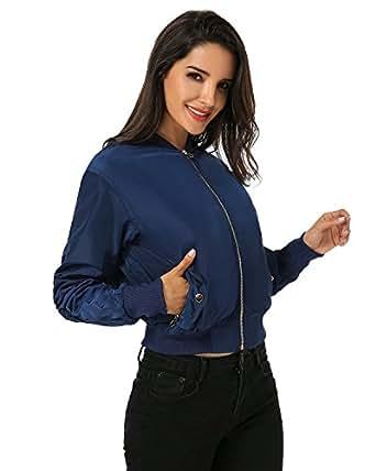 Auxo Mujer Corta Chaqueta de Bombardero con Cremallera Moda Collar Bolsillo Motorista Clásica Azul Marino ES 42-44/ASIAN L