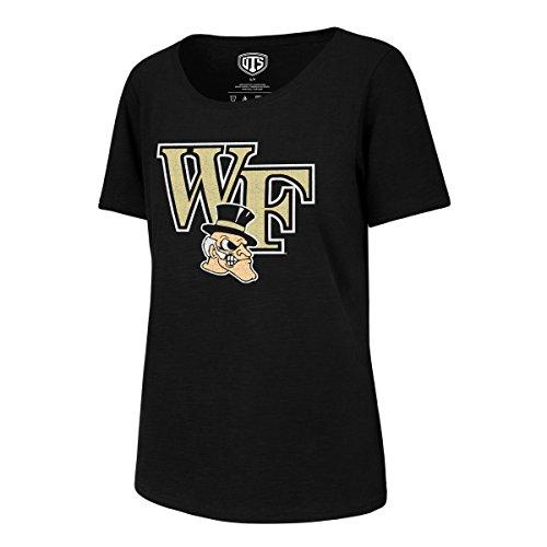 (NCAA Wake Forest Demon Deacons Adult Women NCAA Women's Ots Slub Scoop Distressed Tee, Medium, Jet Black)