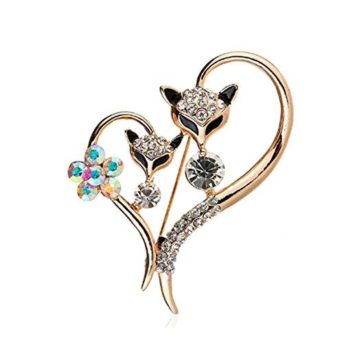 Fox Gold Brooch - primerry Small Fox Head Loving Heart Rhinestone Flowers Pearl Brooch Buckle (Rose gold)