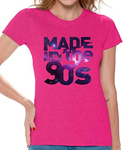 Awkward Styles Women's Made In The 90's T shirt Tops Galaxy Gift for Birthday Funny Saying Pink 2XL (90s Themed Clothes)