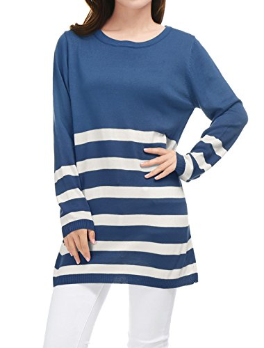 Manches Femmes Lache Chemise Tunique Tricoter Allegra Allegra Longues K Bandes K blue g5UxptwCqt