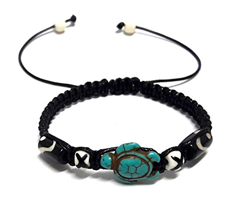 Lucky Turtle Hemp Black Bracelet with Turtle in Turquoise Color-Hawaiian Sea Turtle
