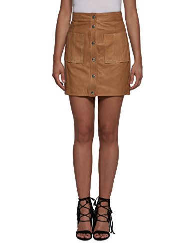 Replay Women's Crust Women's Leather Beige Mini Skirt 100% Leather coñac