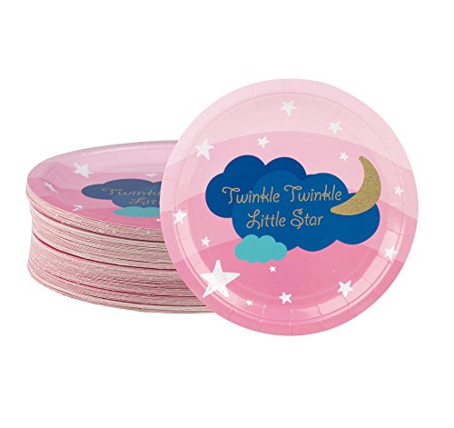 Disposable Plates - 80-Count Paper Plates, Birthday Party Supplies for Appetizer, Lunch, Dinner, and Dessert, Twinkle Twinkle Little Star Design, 9 x 9 ()
