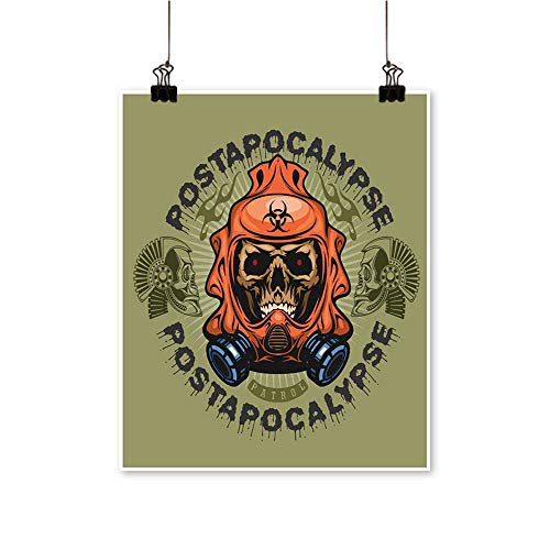 "Canvas Painting Post Apocalypse Coat rms Skull Grunge Vintage Design t Shirts Home Decor on Canvas,28"" W x 48"" L/1pc(Frameless)"