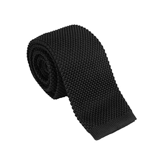 Black Skinny Knit Tie For Men 2