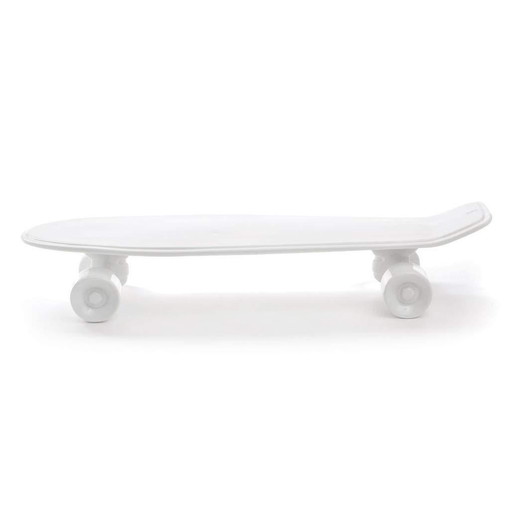 Seletti Vorratsdose Skateboard Tablett Kuriositäten, Porzellan, Weiß, 58 x 15 x 11 cm