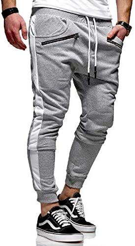 Mens Drawstring Zipper Sweatpants Pocketed Running Trousers