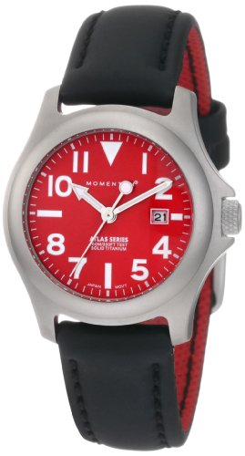 Momentum Women s 1M-SP01R12B Atlas Red Dial Black Touch Leather Watch