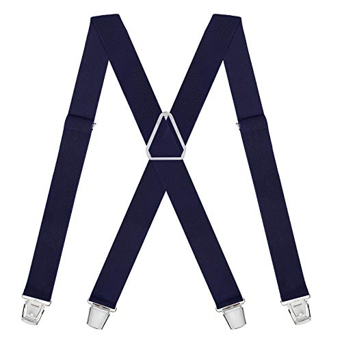 (HDE X-Back Suspenders for Men Adjustable Clip-On Elastic Shoulder Strap Braces (Navy Blue, 42)