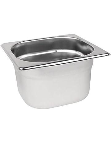 Vogue acero inoxidable 1/6 Gastronorm Pan 100 mm de profundidad alimentos contenedor de almacenamiento