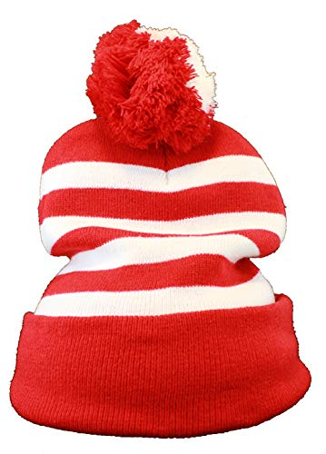 OldSchoolUSA Red White Stripe Pom Pom Halloween Costume Knitted Long Beanie -