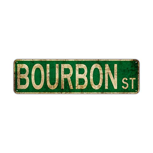 Bourbon Name Street Sign Gift Wall Décor Novelty Man Cave Metal Aluminum Sign