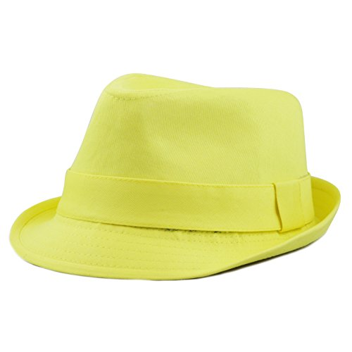 The Hat Depot 1400f2093 100%Cotton Paisley Lining Premium Quality Fedora Hat (Yellow)