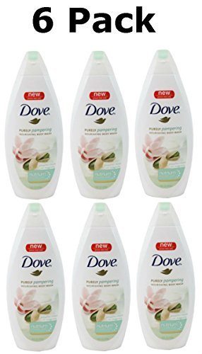 Dove Purely Pampering Body Wash, Pistachio Cream with Magnolia, 16 Fluid Ounce (6 Pack) ()