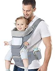 Azeekoom Draagzak, ergonomische heupstoel, draagzak met bevestigingsriem, slabbetjes, schouderriem, hoofdkap voor pasgeboren tot peuter van 0-36 maanden