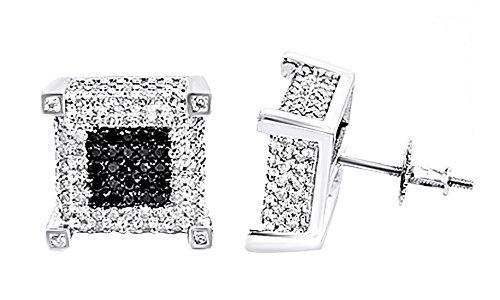 Black & White Genuine Diamond Cluster Hip Hop Stud Earrings 10K Solid White Gold (1.21 Cttw) by wishrocks