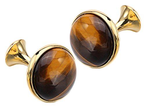Elegant & Beautiful Brown Tigers Eye Round Gem Stone 18k Gold Plated Cufflinks (Cufflinks With Gift Bag) - Gold Brown Tigers