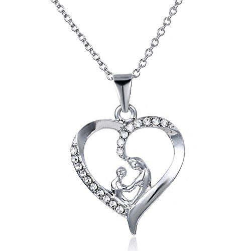 MagicW Gifts for Mom and Baby Heart Pendant Necklace Mom Gifts Charm Fashion Chain Necklace Gifts for Mom from Son Daugter